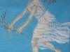 Si slanciò simile a una menade, scese di corsa, pastello su carta riciclata azzurra, cm 24x15