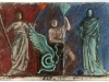 Persefone, Trittolemo, Demetra, pastello su carta da spolvero, cm 20x29,5