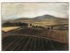 Campi a Pietra Montecorvino, 1998, pastello su carta velluto, cm 24x33