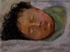Corinna addormentata, 2003, pastello su carta indiana, cm 16x21,5