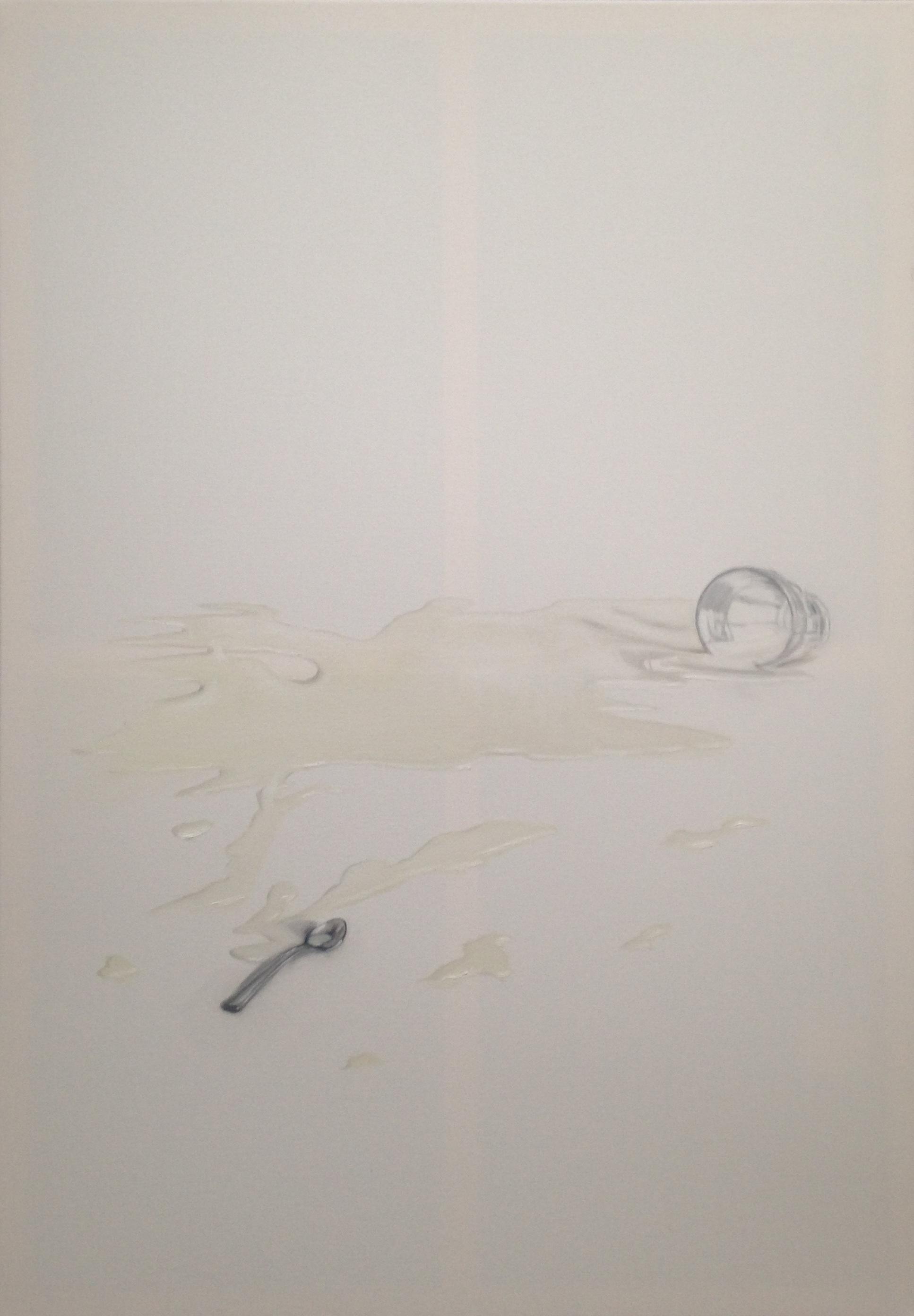A 5) Latte versato, bicchiere e cucchiaino, 2018, 100x70