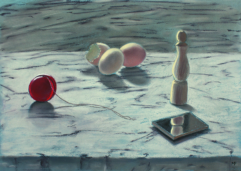 B 11) Specchio uova e rocchetto, '2010,  pastello su carta Ingres, cm 35 x 50