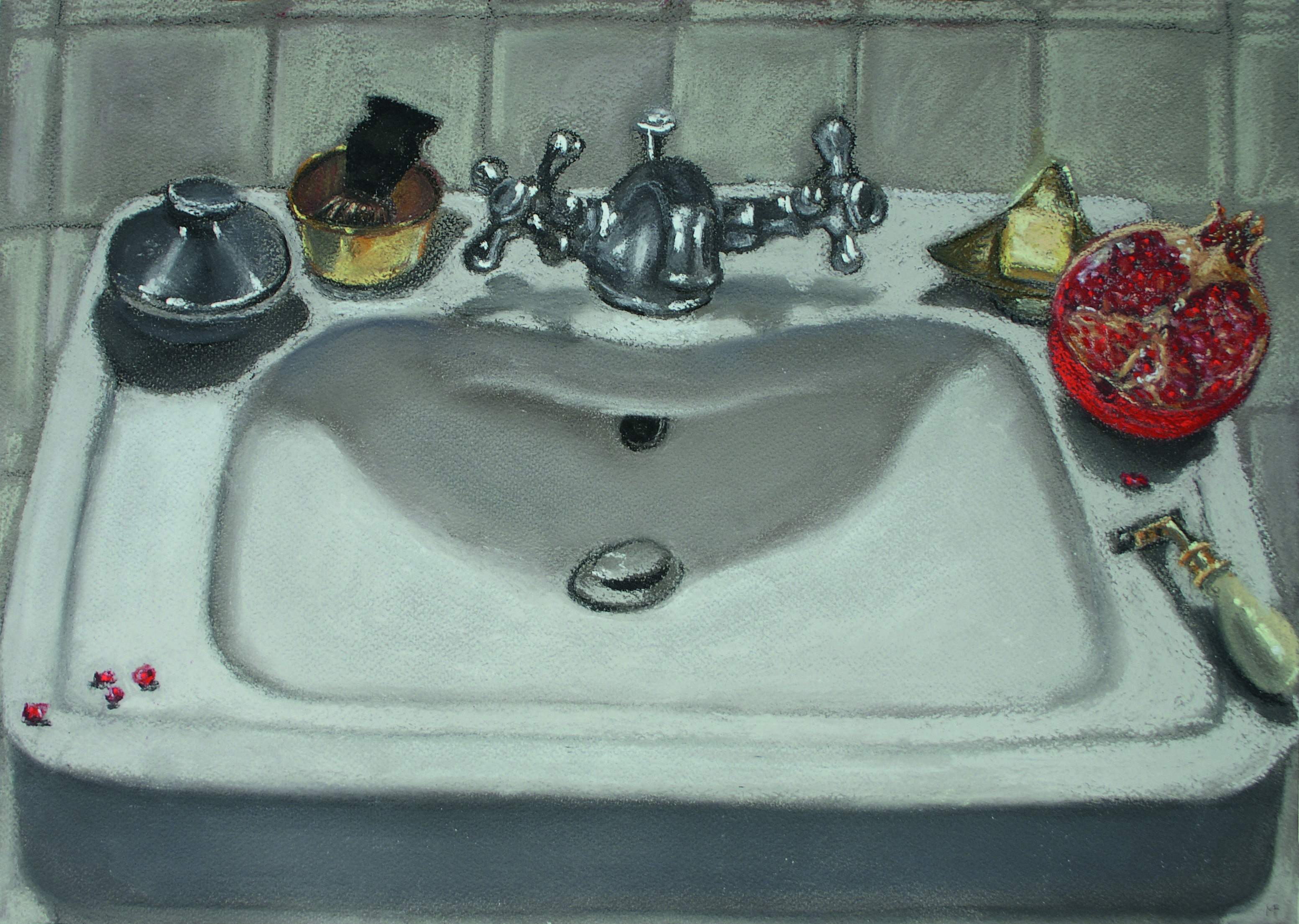B 15)Lavabo, 2010, pastello su carta Ingres, cm 35 x 50