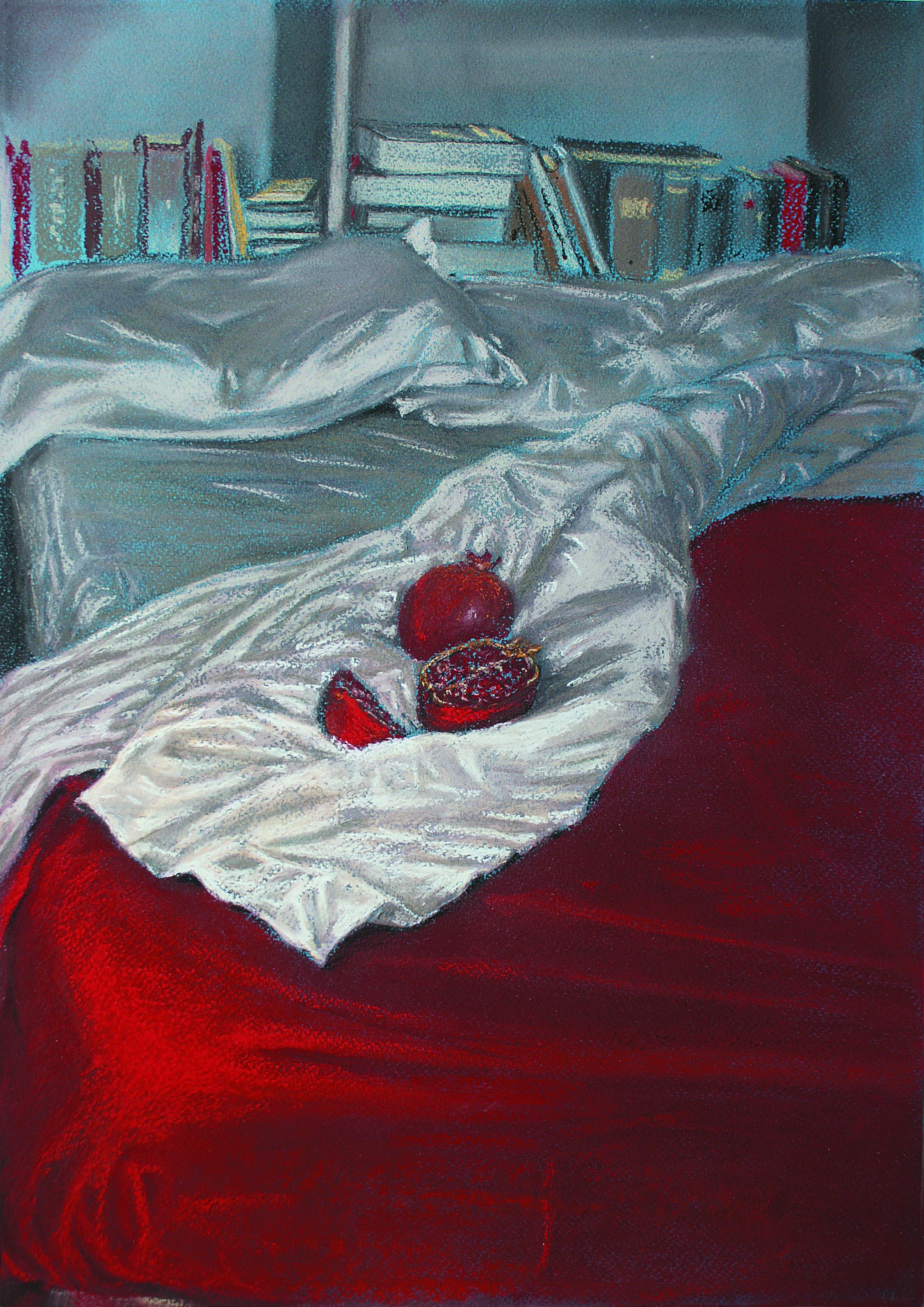 B 16) Letto , 2010, pastello su carta Ingres, cm 50 x 35