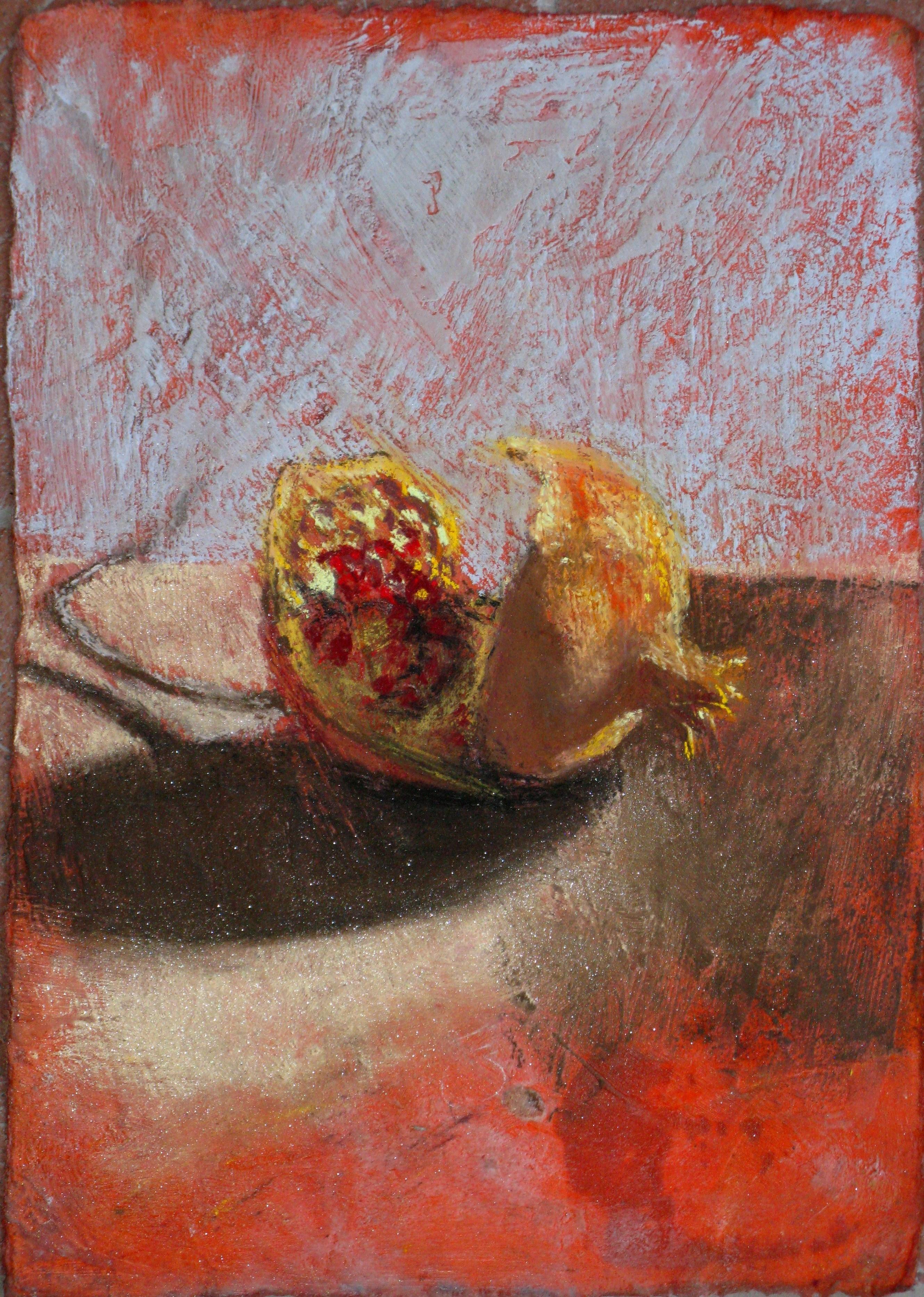 B 19) Melograno di dicembre, 2011, pastello su carta preparata a cera, 28,5x20