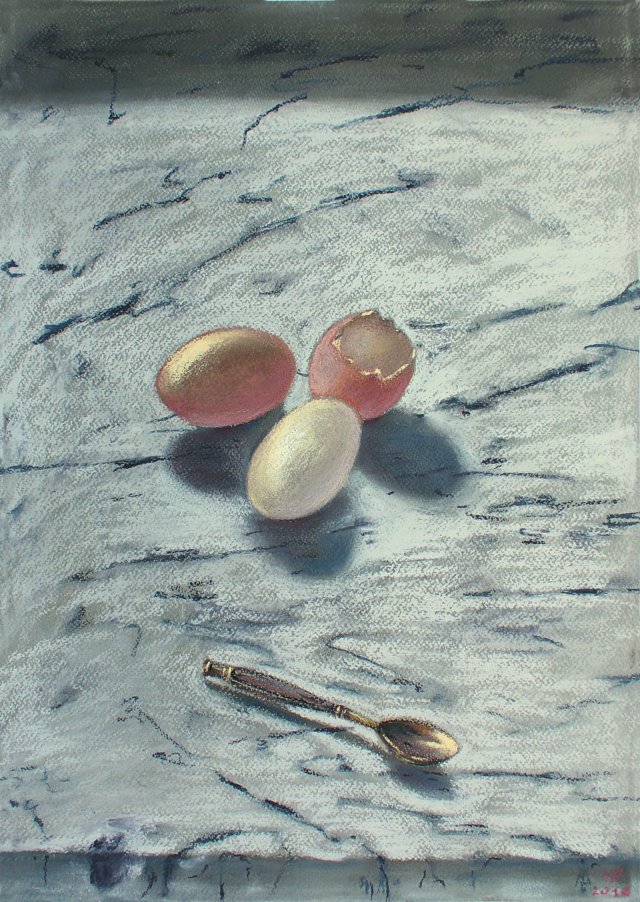 B 8) Uova e cucchiaino, 2010, pastello su carta Ingres, 50x35