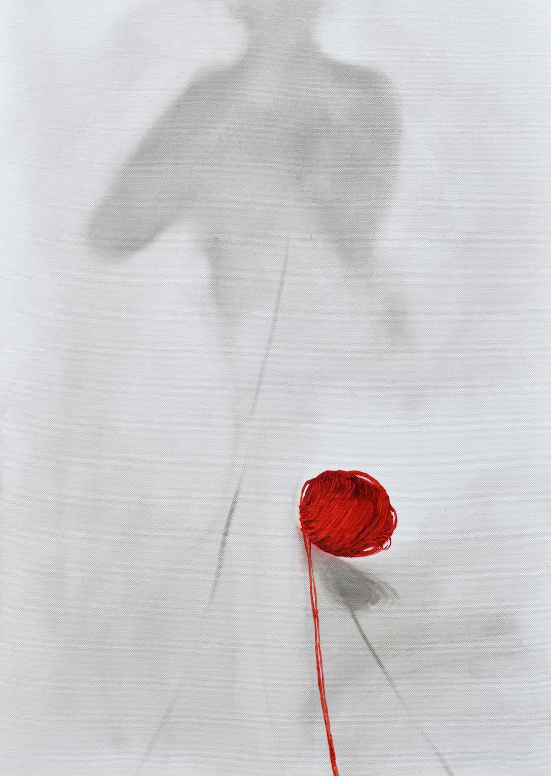 Ombra e gomitolo, 2017, 80x50, olio su tela