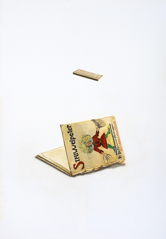 Pettine e libro , 2018,100x70, olio su tela