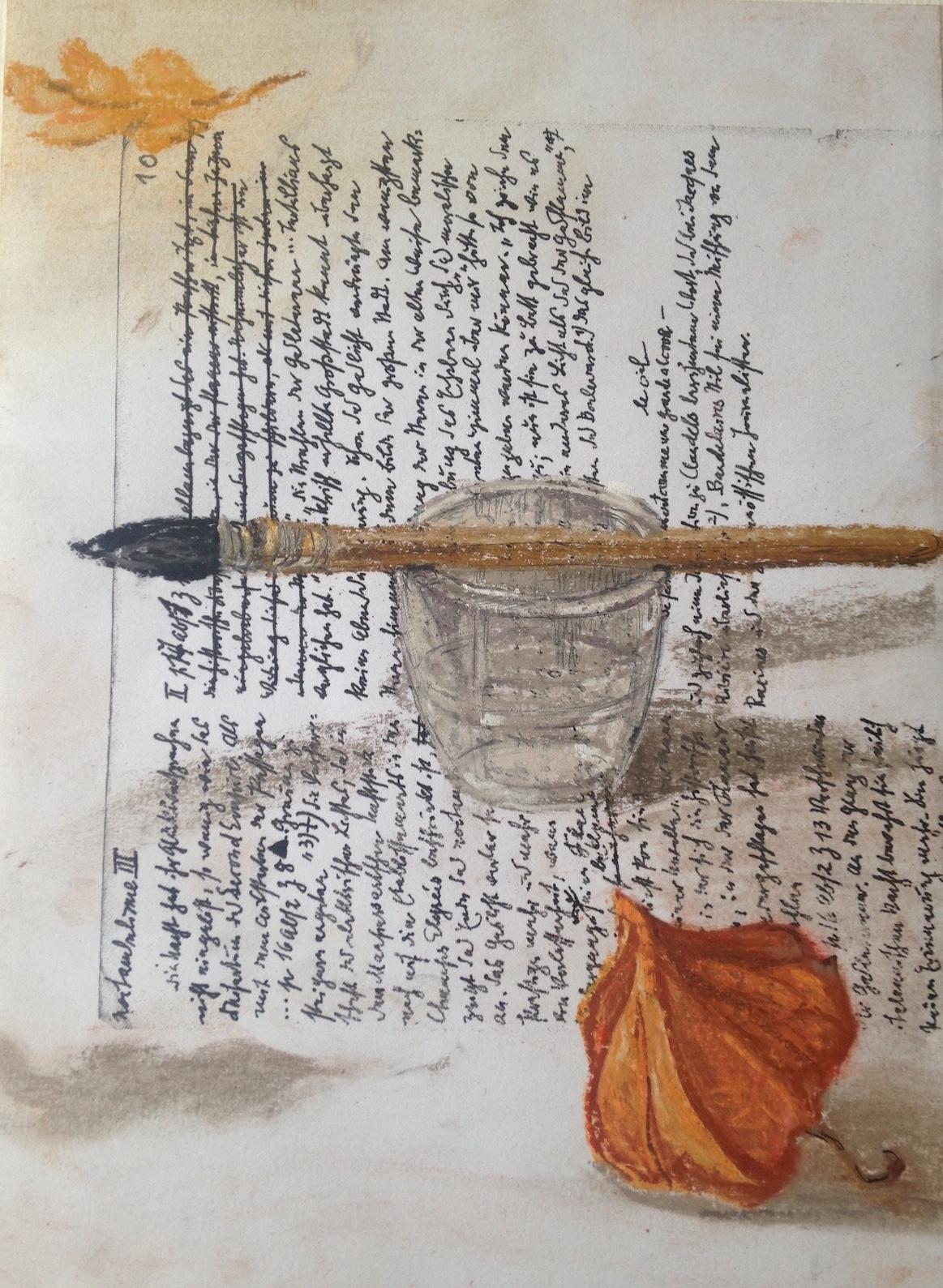 Nello spazio della scrittura, Foglia, pennello, bicchiere e alchekengi su fotocopia di manoscritto di Walter Benjiamin, 2018, pastello, 21x15,