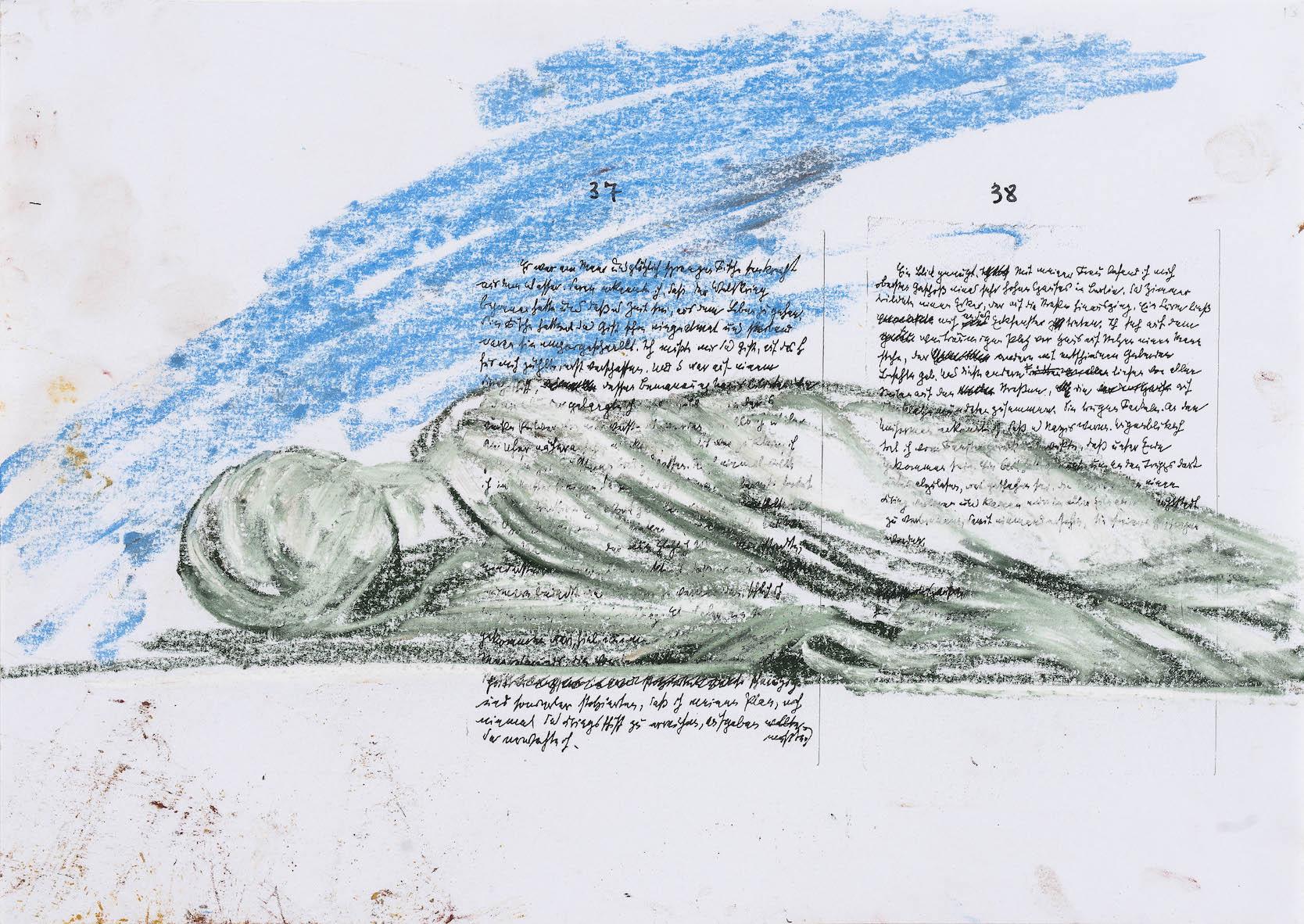 Nello spazio della scrittura, Santa Cecilia su fotocopia di manoscritto di Walter Benjamin, 2018, pastello, 23x31