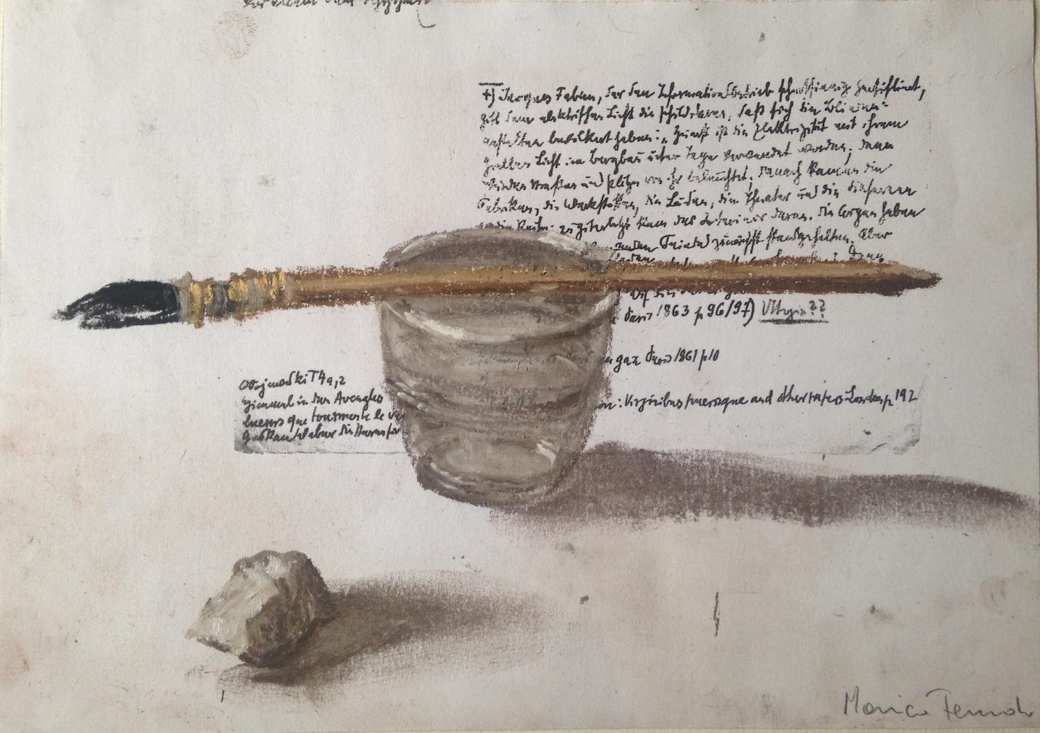 Nello spazio della scrittura, Sasso, pennello e bicchiere su fotocopia di manoscritto di Walter Benjamin, 2018, pastello, 15x21