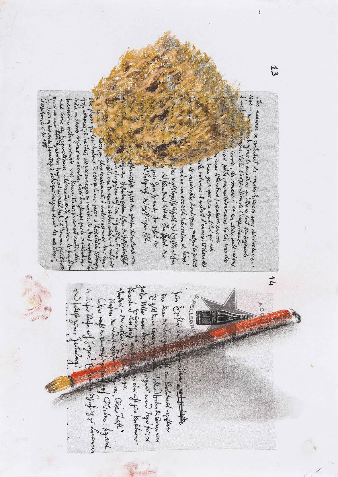 Nello spazio della scrittura, Spugna gettata su pennello su fotocopia di manoscrito di Walter Benjamin, 2018, pastello, 30x21