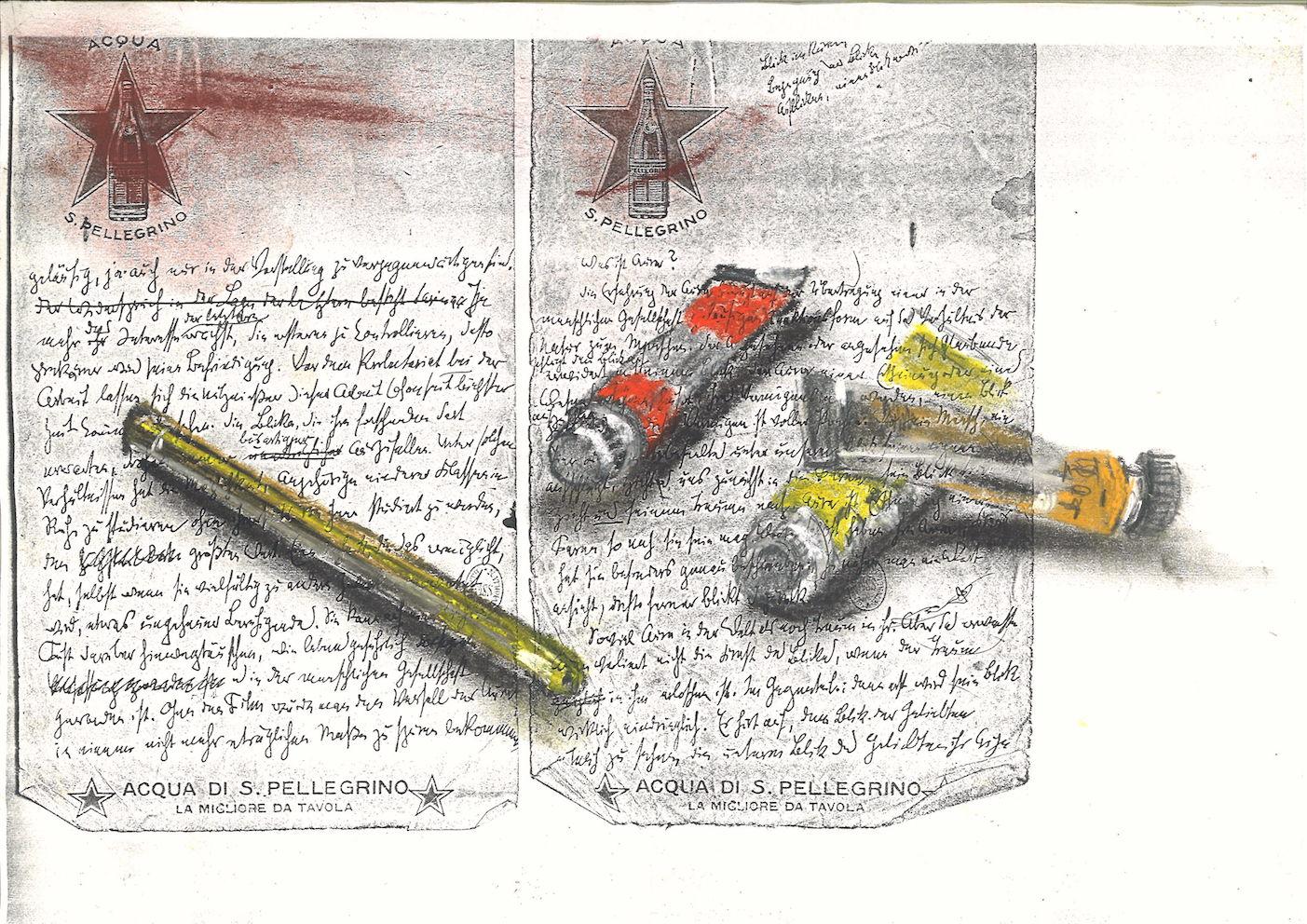 Nello spazio della scrittura, astuccio e tubetti su fotocopia di manoscritto di Walter Benjamin, 2018, pastello, 21x30