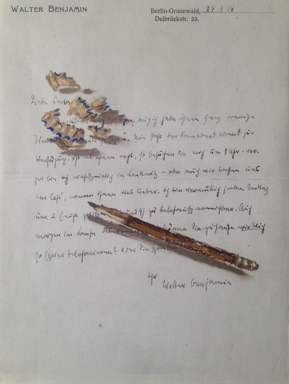 Nello spazio della scrittura, matita e trucioli su fotocopia di lettera di Walter Benjamin, 2018, pastello, 15x21