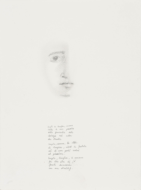 Volto e poesia, 2018, grafite, 30x21