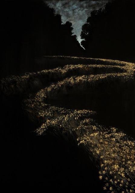 Paesaggio perduto I, (Erba e pietre), 2019, pastello su tela, 100x70