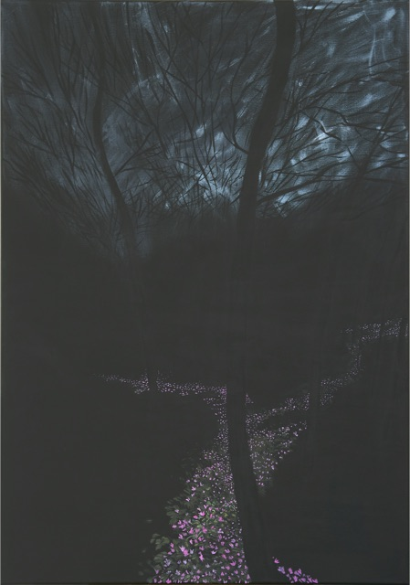 Paesaggio perduto IX, (Bosco), 2019, olio su tela, 100x70